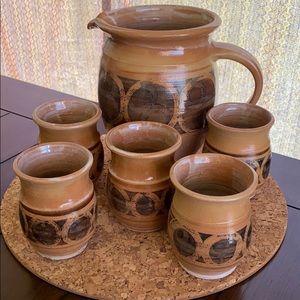 Kurenda Pottery Pitcher and 5 Cups